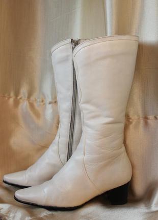 Сапоги осенние, кожаные, белые, размер 37