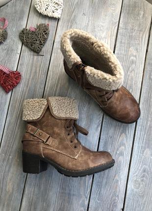 Carina удоебные ботинки на меху сапожки на шнуровк