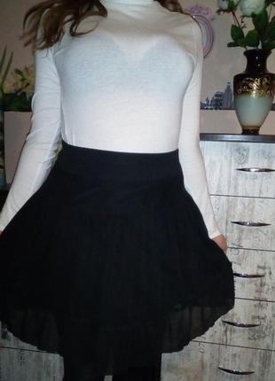 Шифоновая юбка -клеш с подкладкой