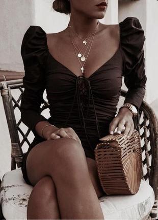 Zara мини платье на шнуровке