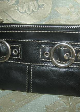 Черный кожаный кошелек без дефектов натуральная кожа