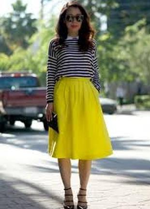 Яркая желтая юбка миди с карманами вырезом длинная пышная цветная стиляги пин ап