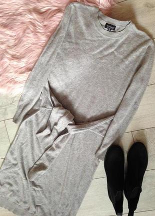 Шестяное тёплое зимнее платье свитер миди с завязками
