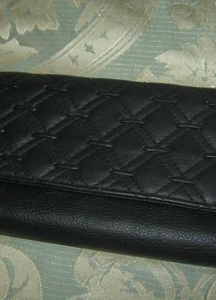 Большой черный кожаный кошелек натуральная кожа