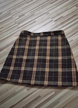Зимняя юбка, юбка в клетку,  клетчастая юбка, утеплённая юбка,  спідниця, зимня спідниця