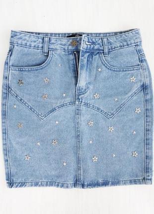 Очень крутая джинсовая юбка с высокой посадкой с металлическими звёздочками
