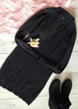 Шерстяной удлинённый джемпер свитер шерсть