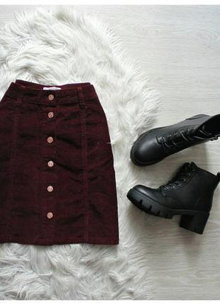 Вельветовая бордовая юбка трапеция с пуговицами спереди кнопки солнце клеш марсала батал