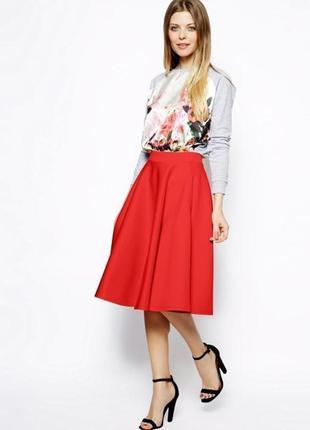 Красная морковная яркая юбка миди с подкладкой карманами пышная италия длинная