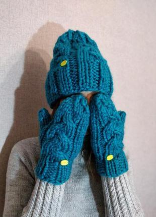 Скидка! вязанный комплект - шапка бини и варежки,моя ручная работа