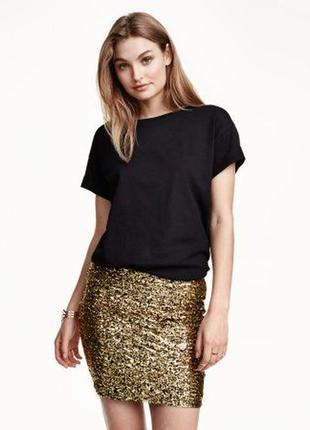 Яркая юбка с золотыми бронзовыми пайетками блестками короткая стрейч блестящая батал