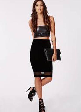 Черная юбка миди с сеточкой карандаш по фигуре в обтяжку длинная нарядная