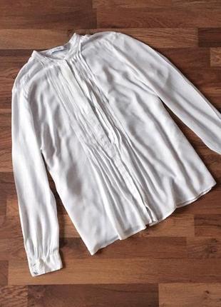 Качественная вискозная белая рубашка размер xs