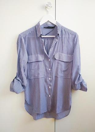 Рубашка в полоску zara размер xs-s