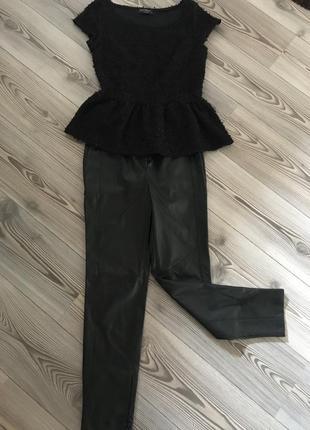 Комплект топ rinascimento и брюки эко кожа