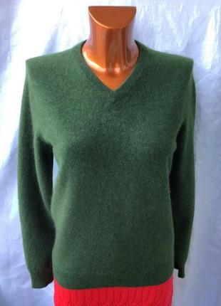 Кашемировый пуловер густого зеленого цвета от club room