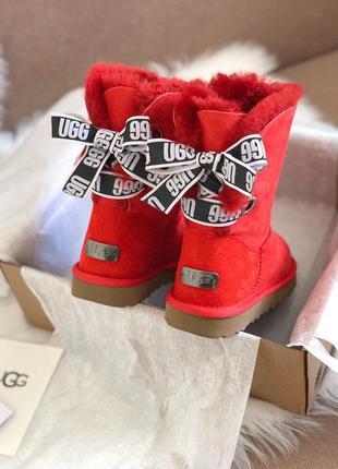 Высокие яркие сапоги ugg customizablz в красном цвете /осень/зима/весна😍