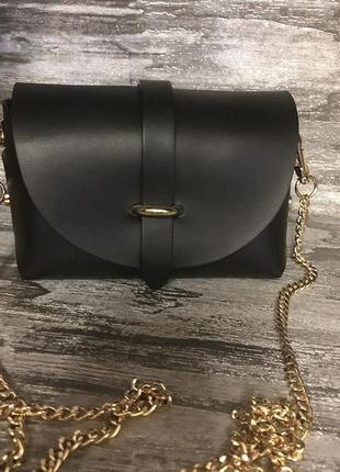 Сумочка клатч на цепочке натуральная кожа сумка шкіряна vera pelle