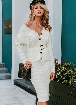 Богатый комплект костюм вязаная юбка-карандаш  миди + жакет с поясом с asos