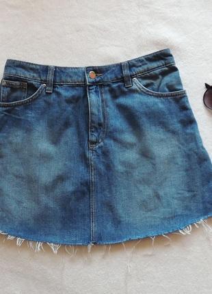 Юбка джинсовая рваная,модная , h&m размер s / 36/6