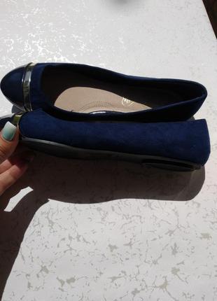 Новые балетки экозамша+лак стелька кожа 40_41 размера на широкую ногу