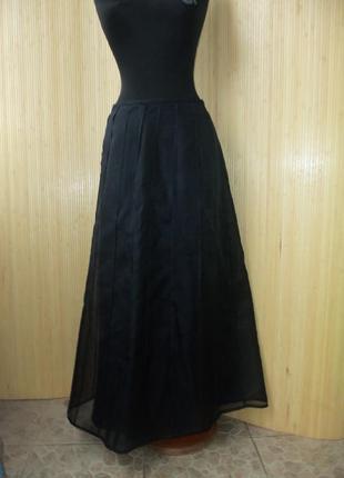 Летящая французская нарядная чёрная длинная юбка  с шелковой подкладкой