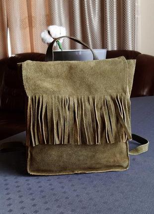 Замшевый красивый рюкзак цвет хаки фирмы h&m