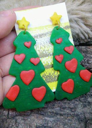 Серьги сережки елка елочка новогодняя праздничные