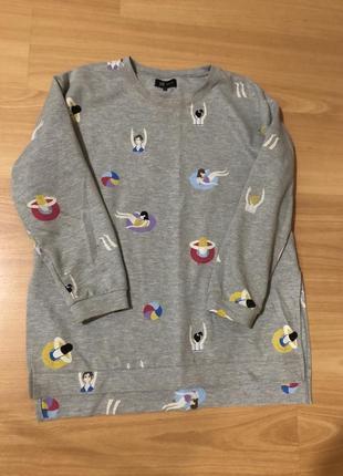 Свитшот удлиненный в принт reserved свитер