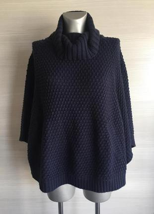 Пальто пончо накидка свитер вязаное yessica с карманами