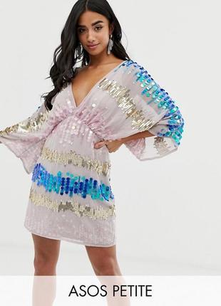 Платье кимоно в пайетках  asos, размер 6