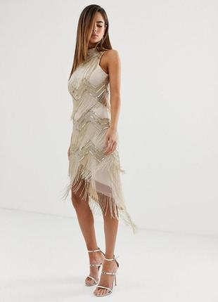 Платье с бахромой из бисера asos, размер 12