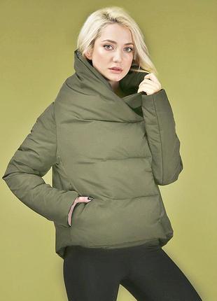 Куртка евро зима осень короткая marani эксклюзив одеяло хаки