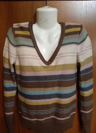 Шерстяной в полоску пуловер размера 50-52.