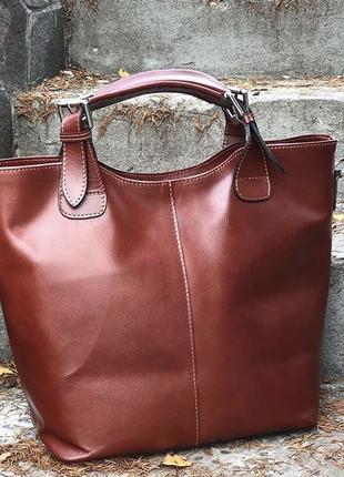 Красивая вместительная сумка шопер из натуральной кожи италия сумка шкіряна