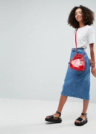 Синяя голубая макси миди джинсовая длинная юбка трапеция в пол с пуговицами спереди