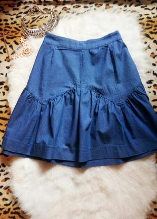 Джинсовая юбка с оборками воланами солнце синяя батал пышная большой размер рюшами