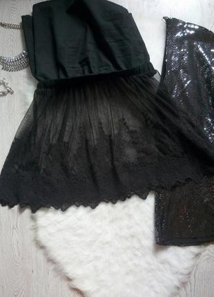 Черная пышная нарядная ажурная юбка короткая мини на резинке снизу набивной гипюр