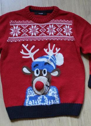 Новогодний свитер с оленем george на 4-6 лет