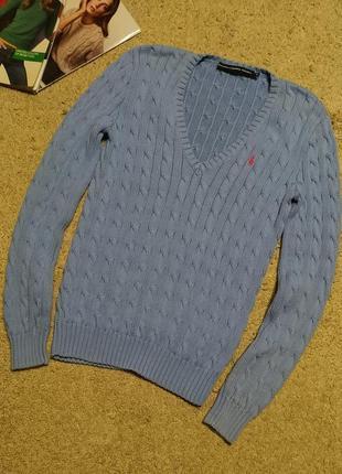 Ralph lauren джемпер/ свитер/ пуловер-косы василькового цвета