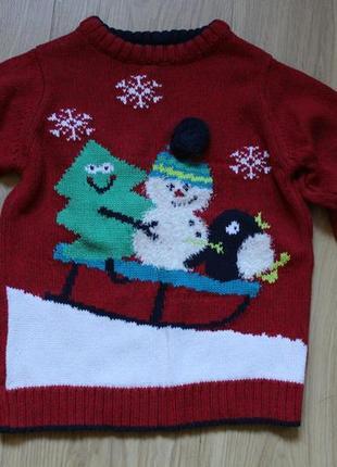 Новогодний свитер nutmeg на 2-4 года