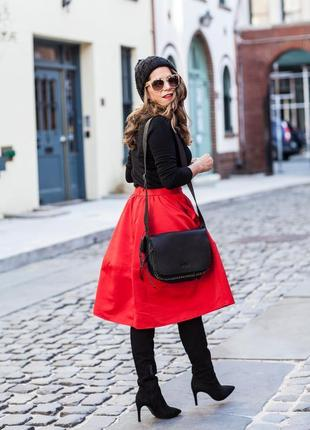 Красная пышная юбка миди трапеция с карманами алая трапеция колокол длинная червона