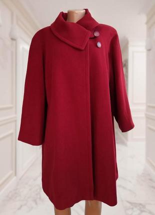 Стильное теплое пальто оверсайз, марсала, made in italy / бордо / кашемир, шерсть италия