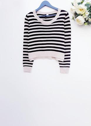 Укороченый свитер в полоску стильный свитер в полоску