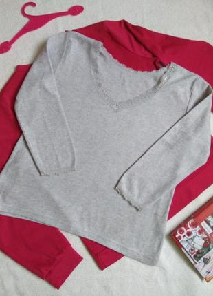 Трендовая мягенькая шерстяная кофточка/джемпер/пуловер с кружевом next
