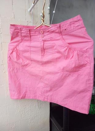 Розовая короткая летняя юбка коттон от denim co