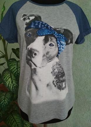 🏈 суперовая женская футболка с принтом питбульки.ук. р-48+. clockhouse.