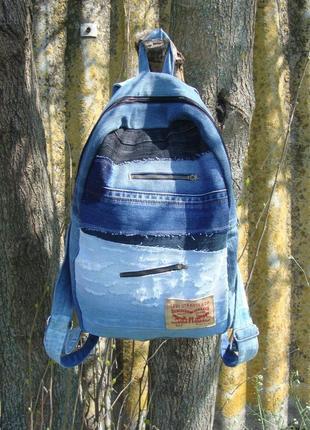 Джинсовый рюкзак из разного двойного джинса ручная работа