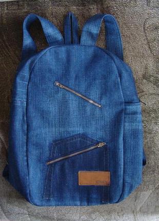Джинсовый рюкзак ручная работа