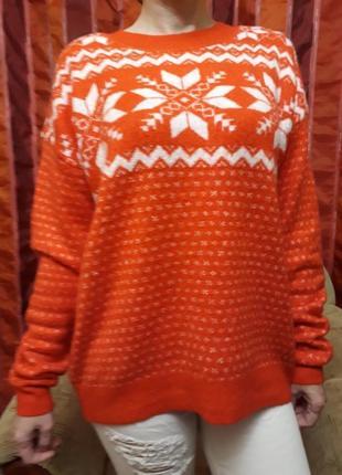 Шикарный оверсайз свитер с норвежским узором.